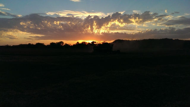 john deere combine at sunset