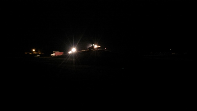 packing silage after dark