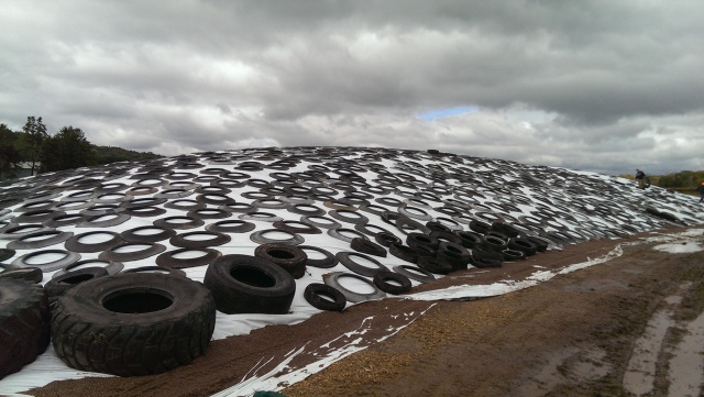 drive over pile with tires